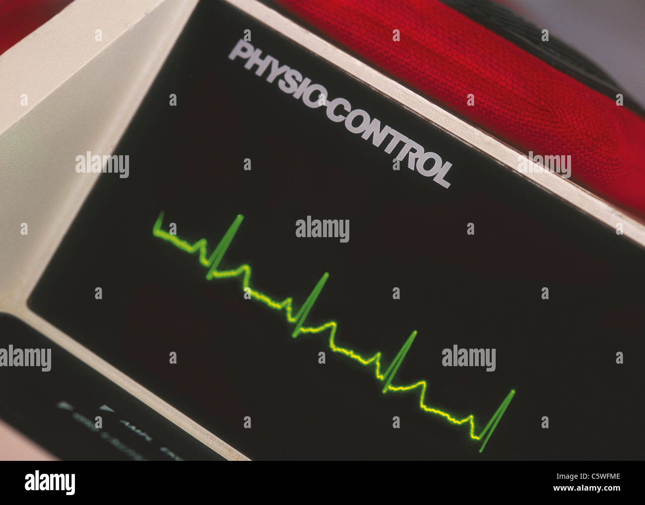 Pulse display on electrocardiogram - Stock Image