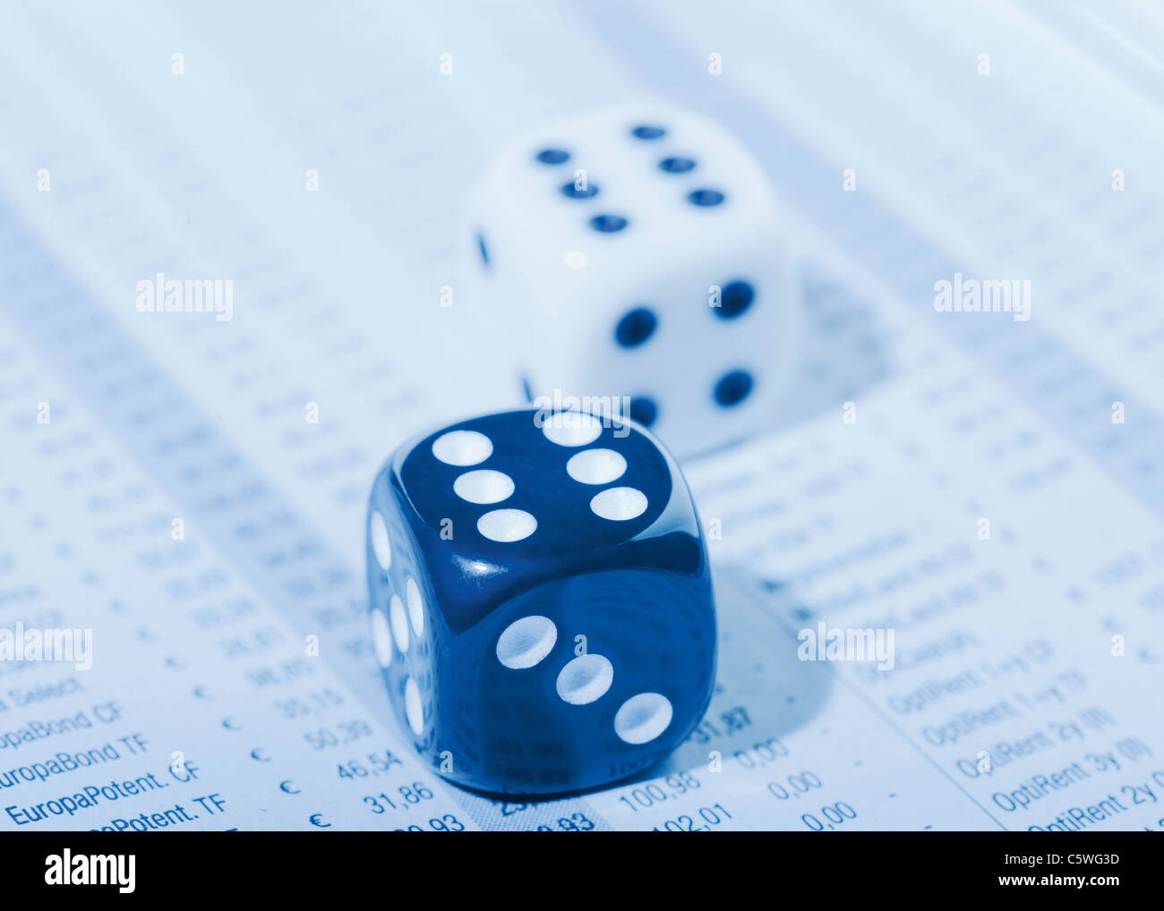 Two dices on stock prices list - Stock Image