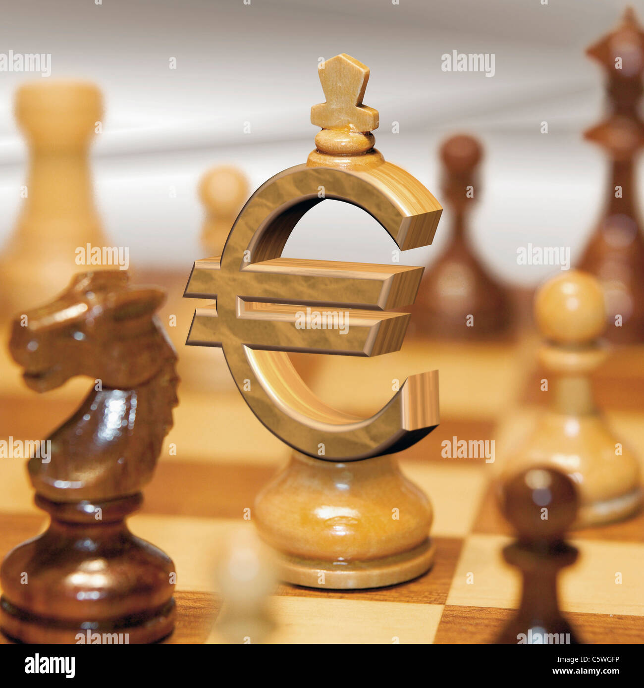 Close up of euro sign pawn on chess - Stock Image