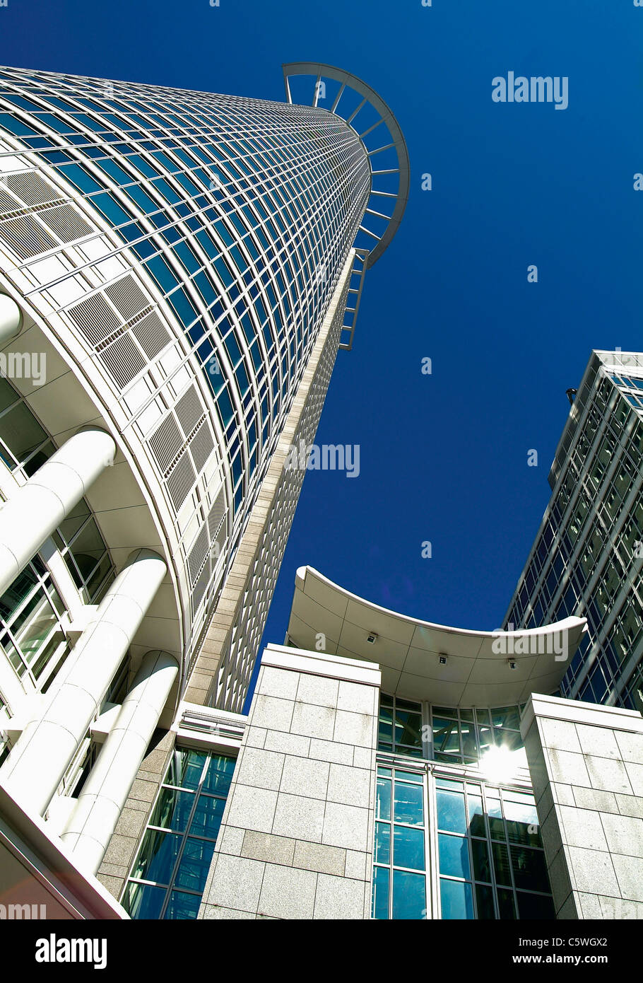 Germany, Frankfurt, View of bank with skyscraper Stock Photo