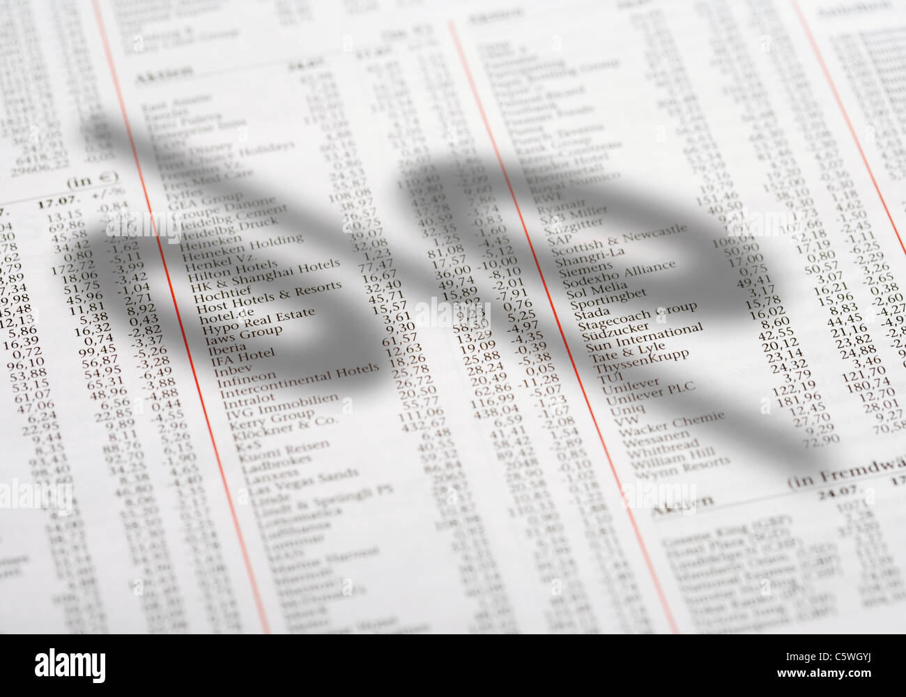Percentage sign on newspaper with share prices - Stock Image
