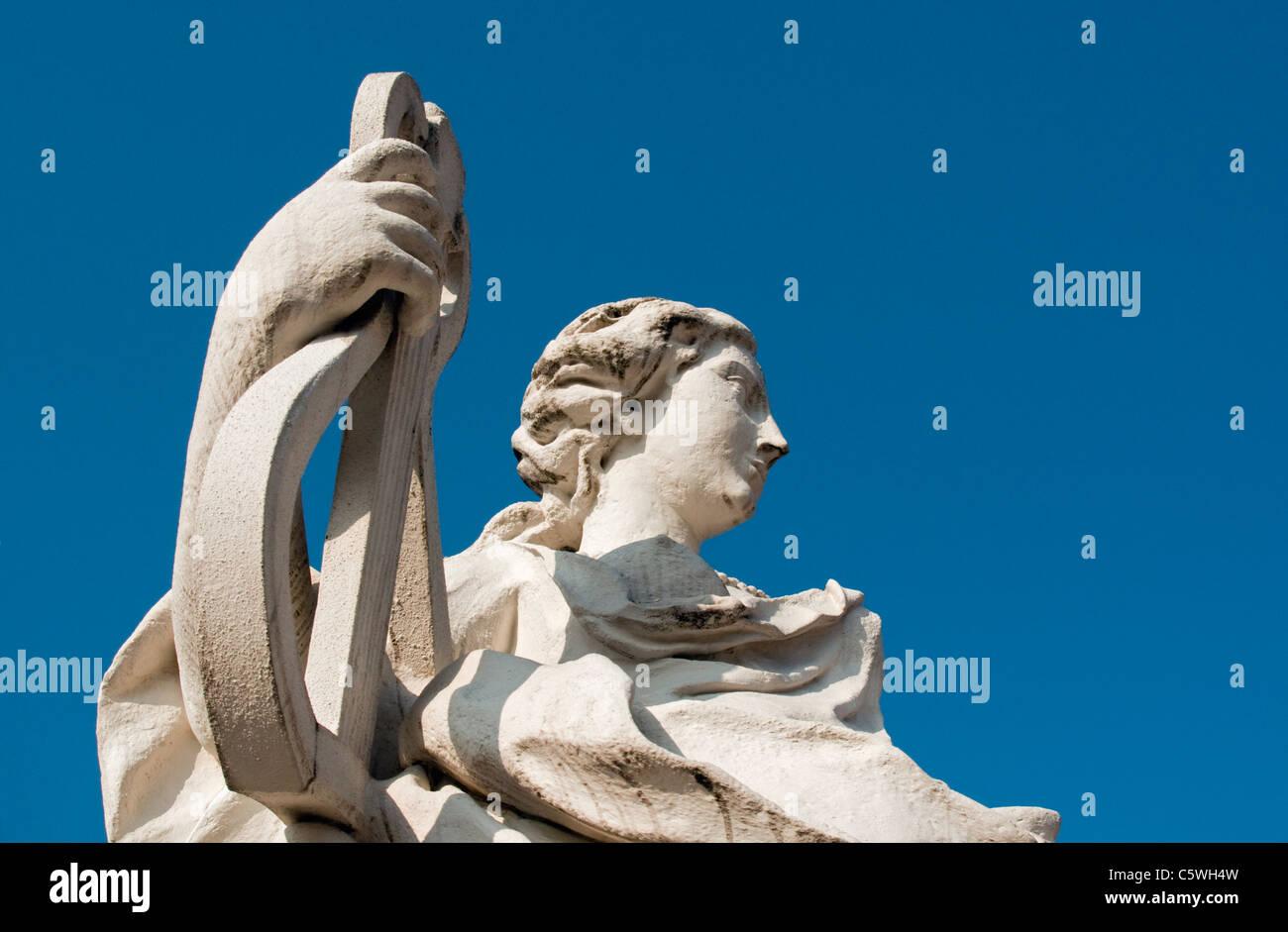 Baroque Sculpture of Lyre Player in Belvedere Palace Gardens (Belvederegarten), Vienna (Wien), Austria - Stock Image