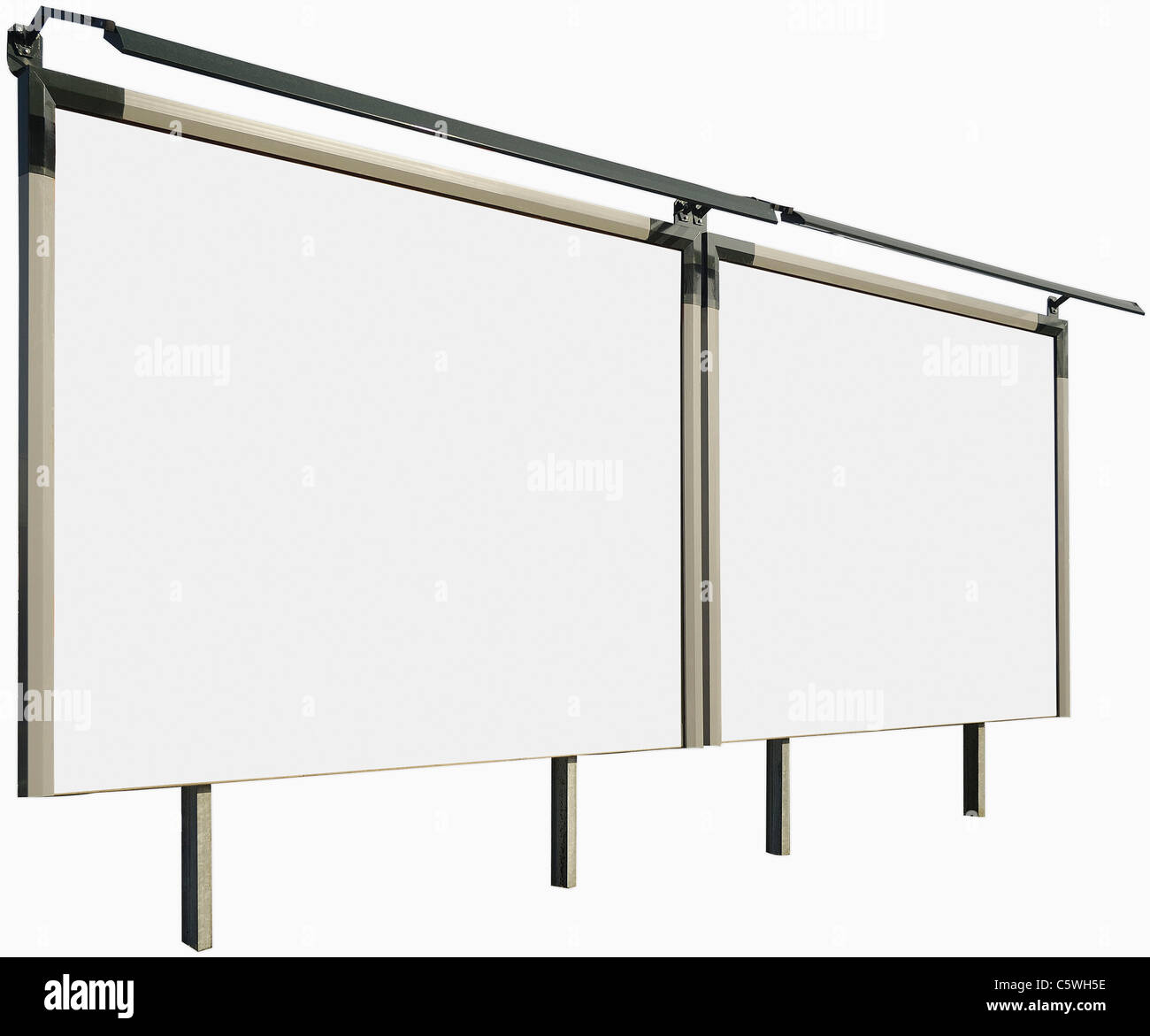 Blank billboards against white background, close up - Stock Image
