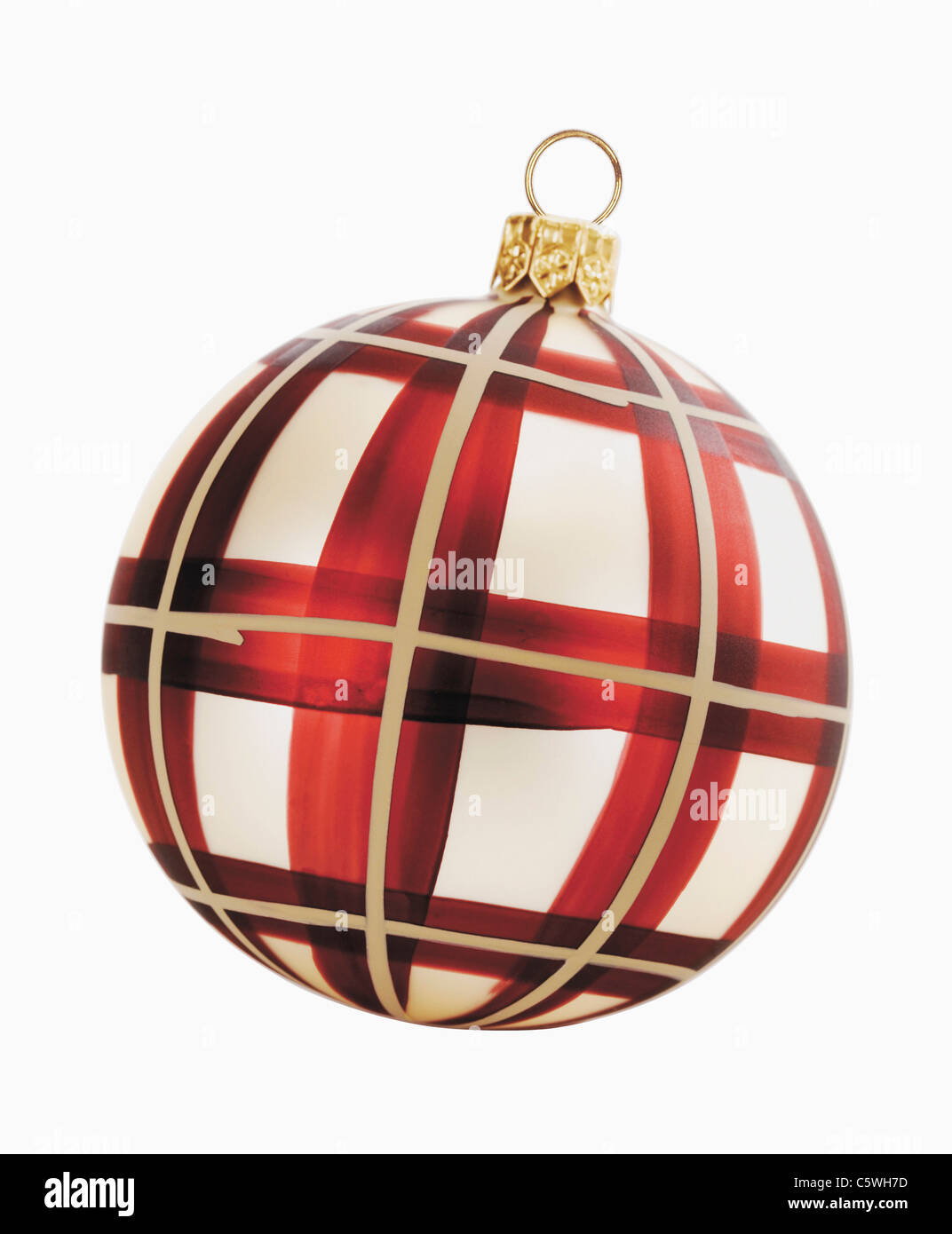 Christmas bauble against white background, close-up - Stock Image