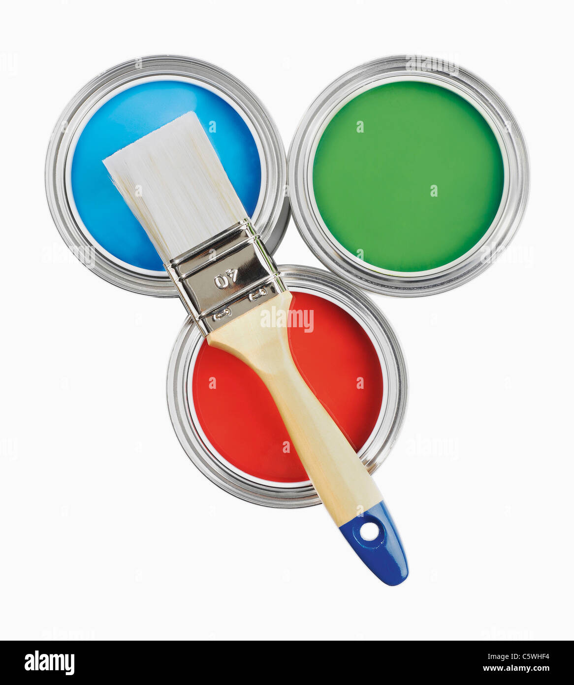 Three paint cans and paint brush on white background - Stock Image