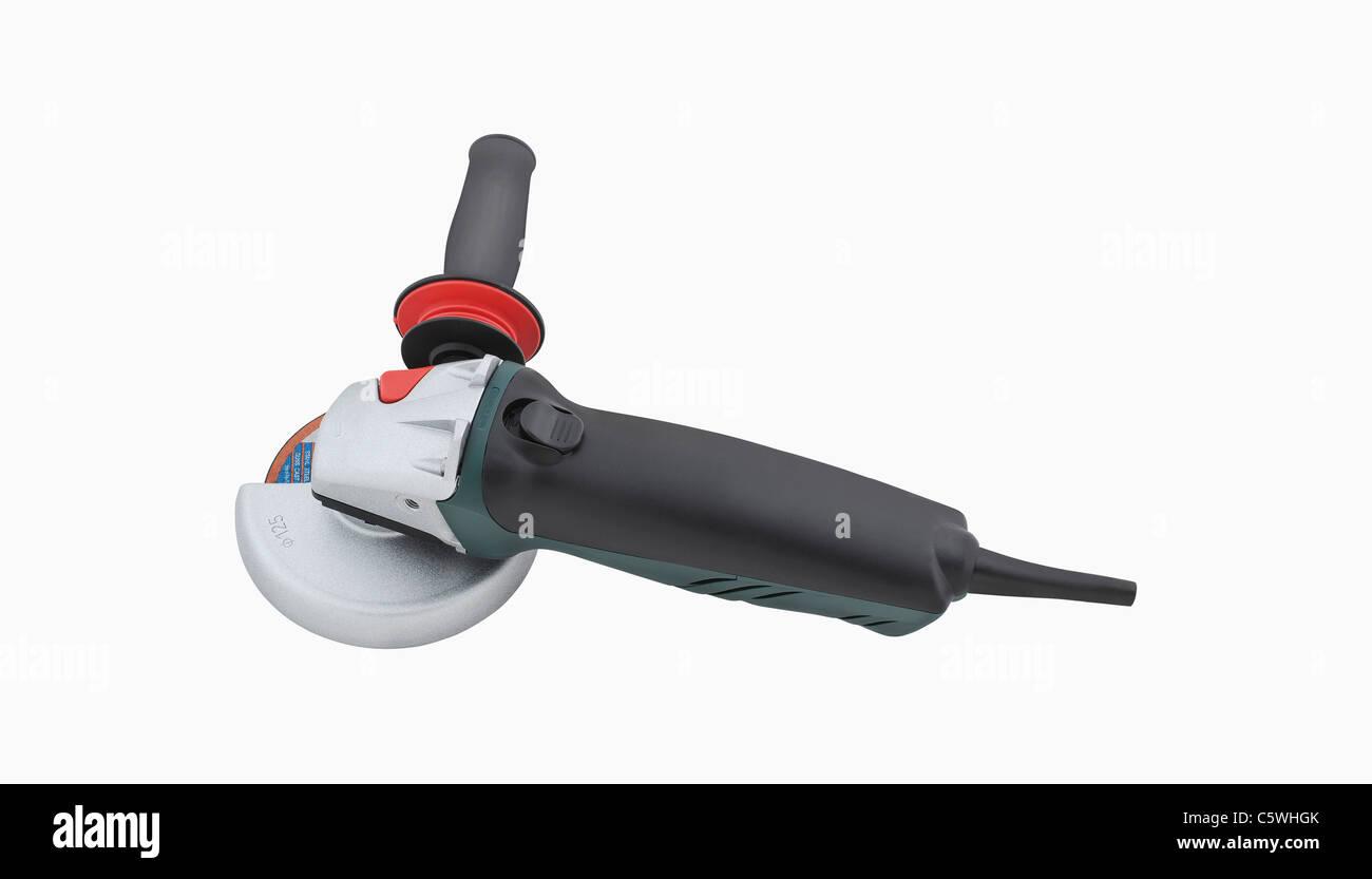 Angle grinder on white background - Stock Image
