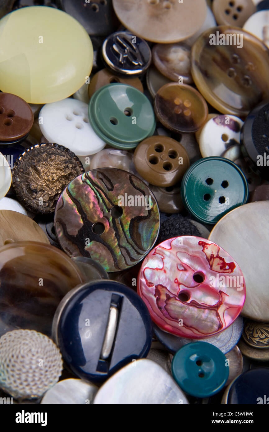 Variety of buttons, full frame - Stock Image