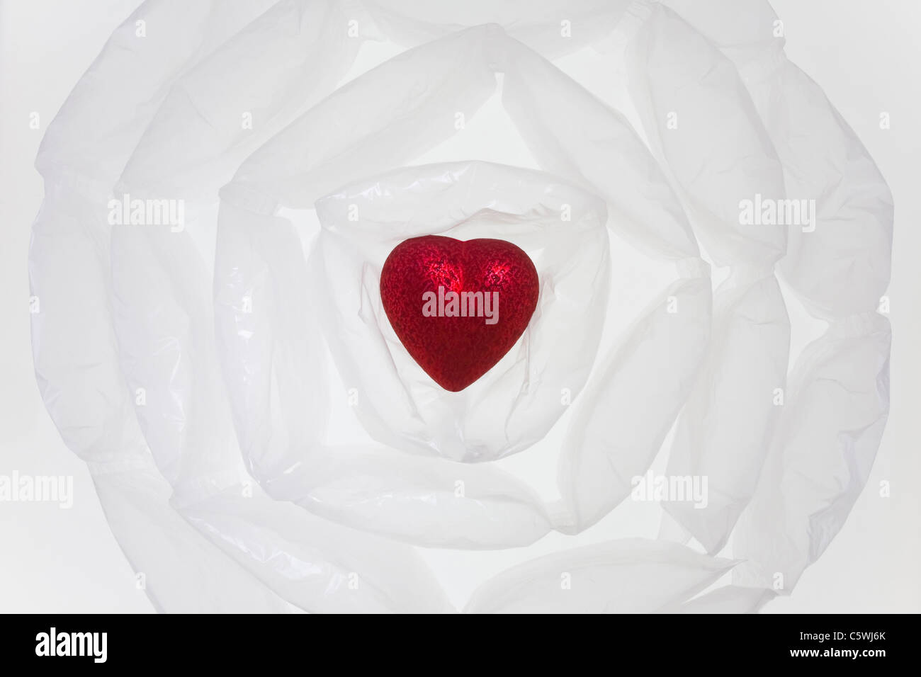 Heart in air cushion, elevated view - Stock Image