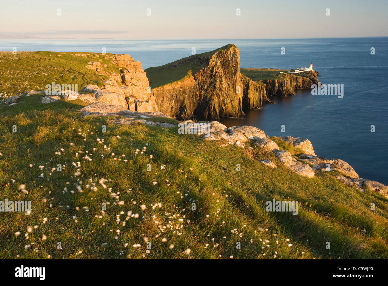Neist Point and lighthouse in evening light, Isle of Skye, Scotland, Great Britain. Stock Photo