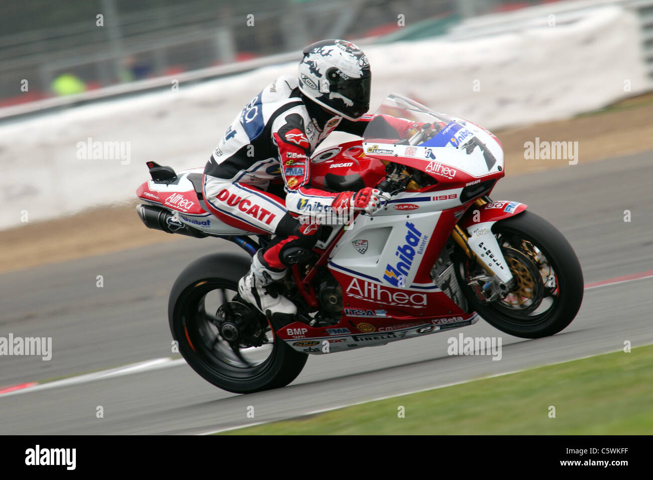 Carlos Checa during Friday practice at Silverstone Stock Photo
