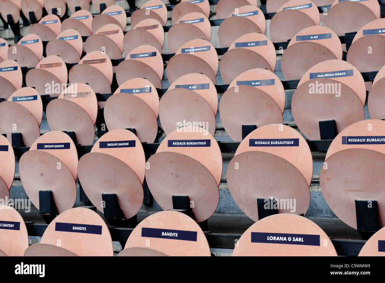 Seats at the 'Parc des Princes' stadium in paris, home Paris Saint-Germain, are marked with names of the - Stock Image