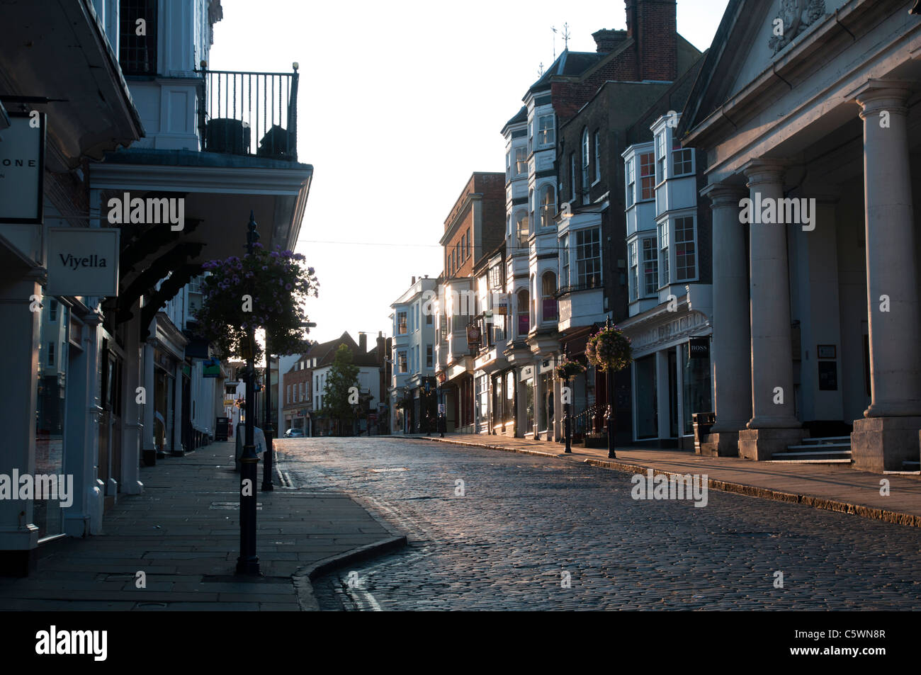 GUILDFORD, ENGLAND, 27th July 2011 - A view of Guildford High Street in the early morning summer sun. EDITORIAL - Stock Image