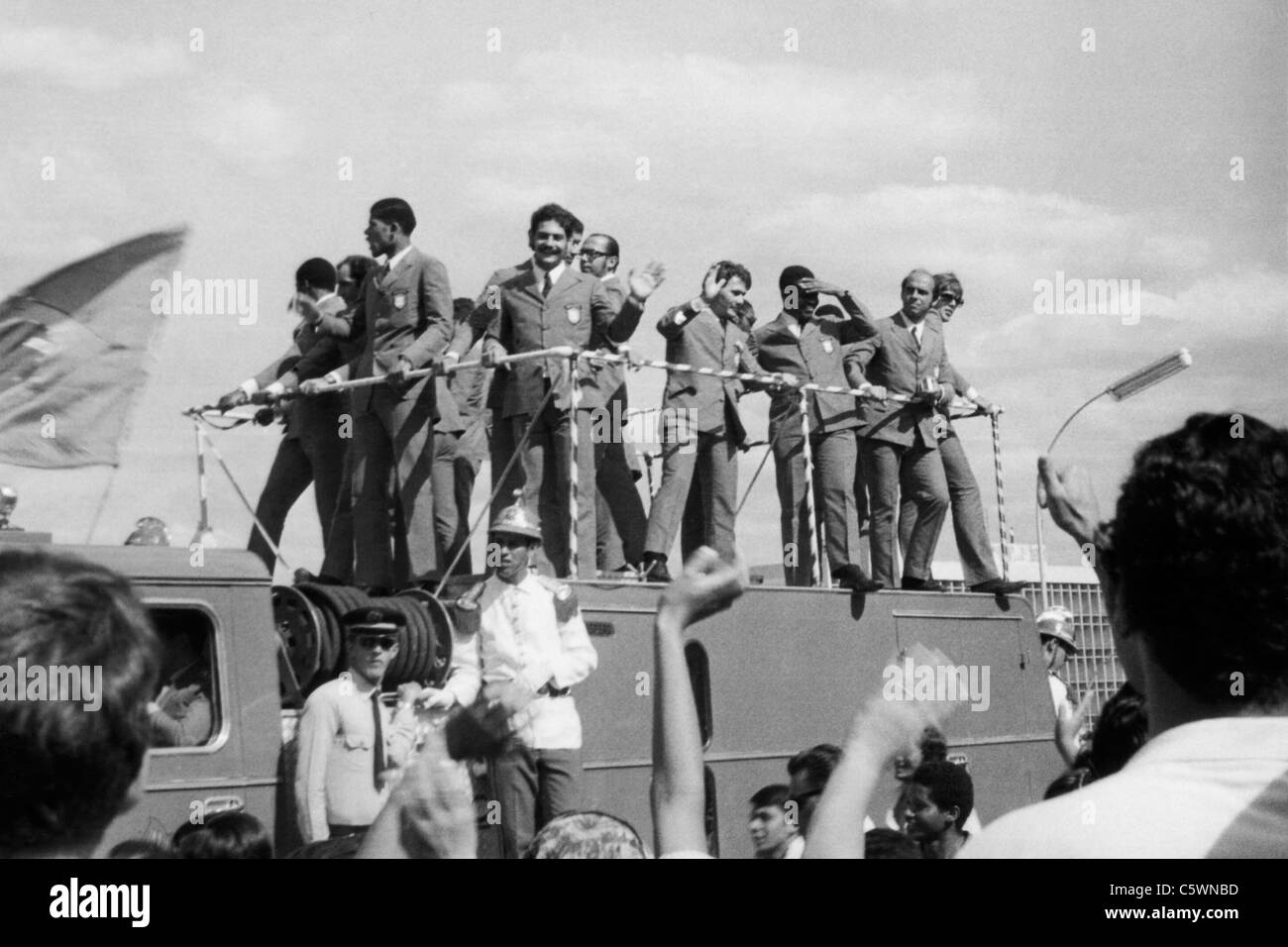 Arrival in Brasilia of Brazilian Football Team, World Champion, 1970 - Stock Image