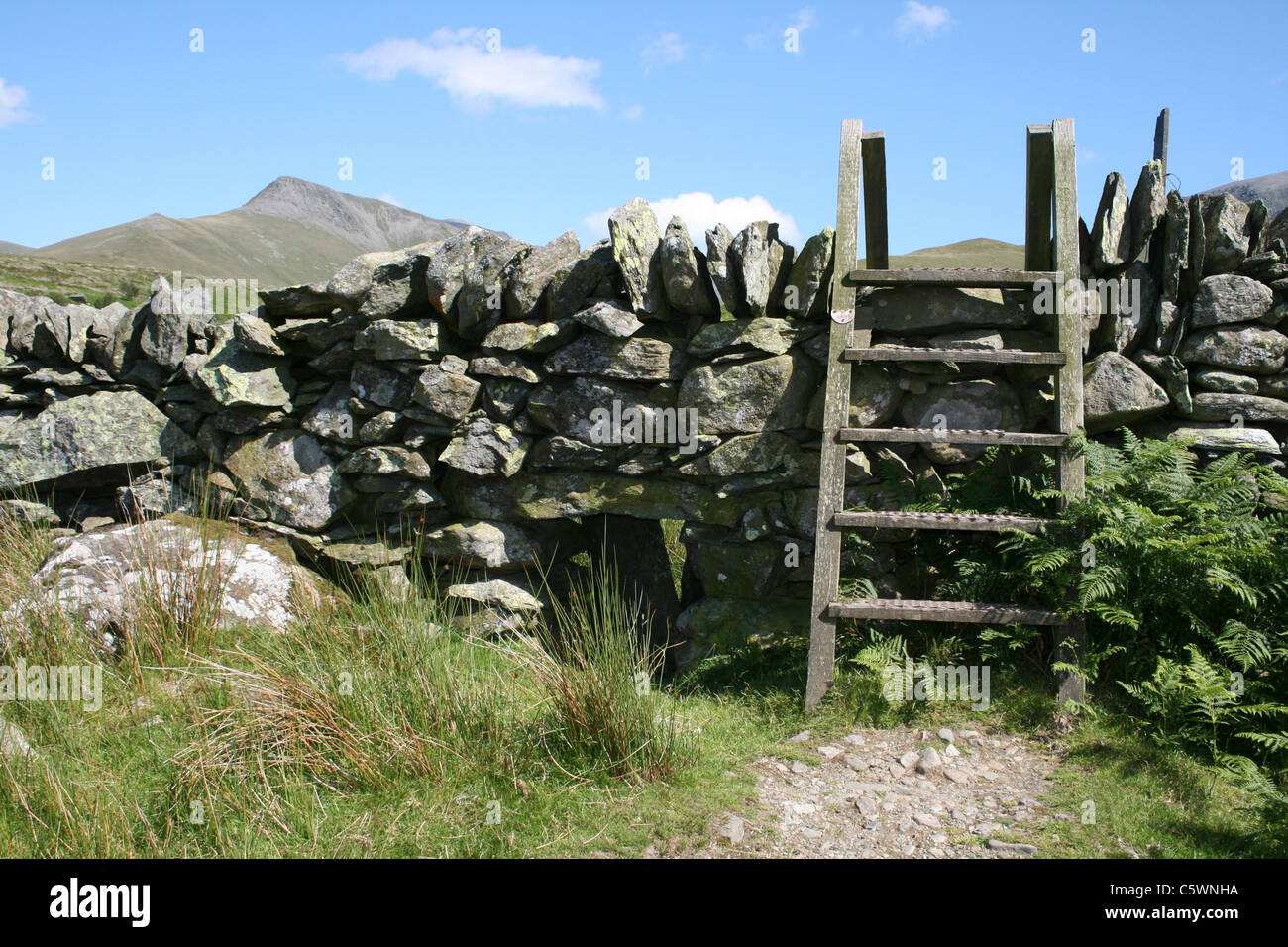 A Wooden Stile Crossing A Traditional Drystone Wall In Snowdonia, Wales - Stock Image