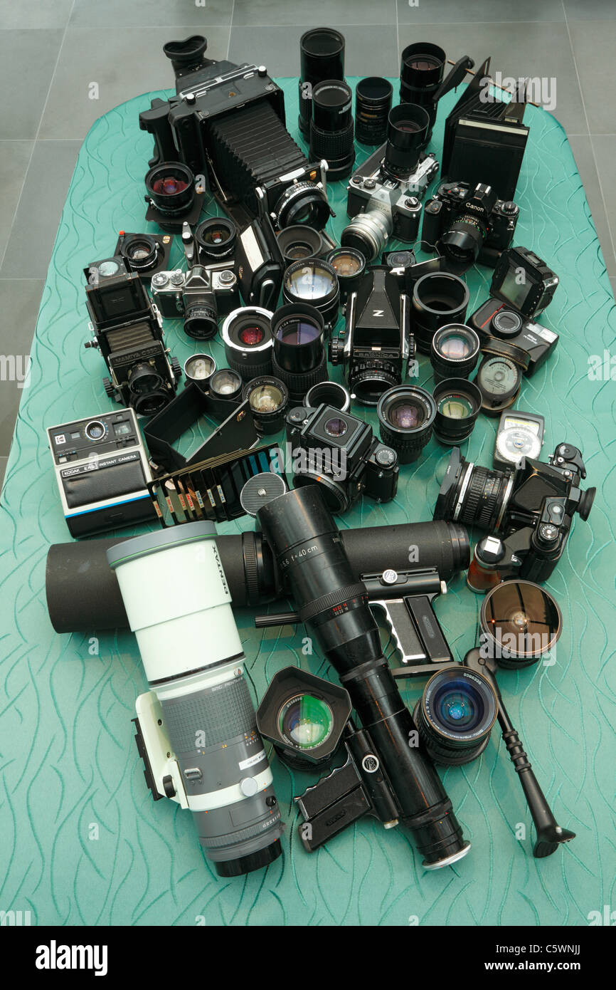 photo industry, photo equipment, analogue cameras, lenses, photo accessories - Stock Image