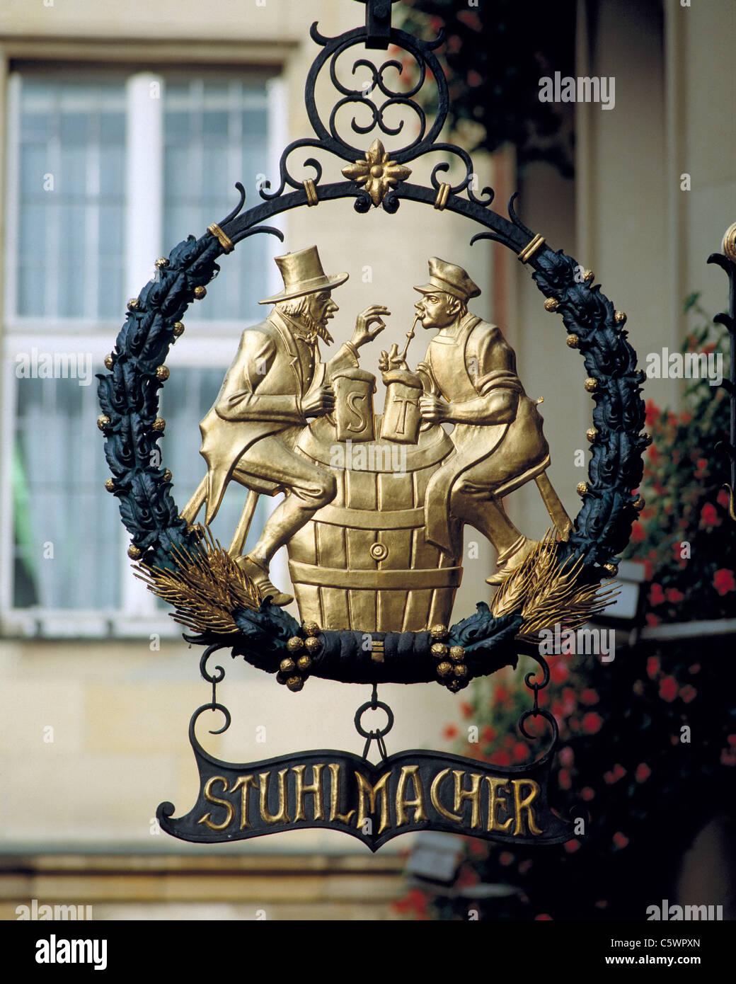 Wirtshausschild Stuhlmacher am Prinzipalmarkt in Muenster, Westfalen, Nordrhein-Westfalen - Stock Image