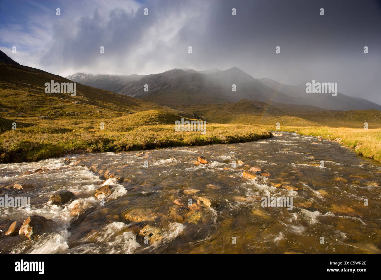 River Torridon, Glen Torridon with Beinn Eighe range beyond. Torridon, Wester Ross, Scotland, Great Britain. - Stock Image