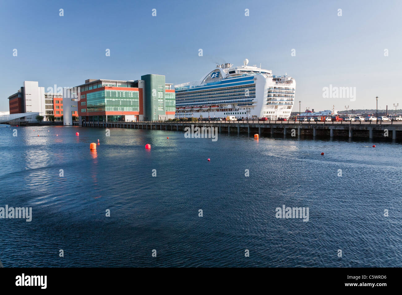 A 116,000 ton Passenger cruise ship docked at Liverpool Pier Head in summer - Stock Image