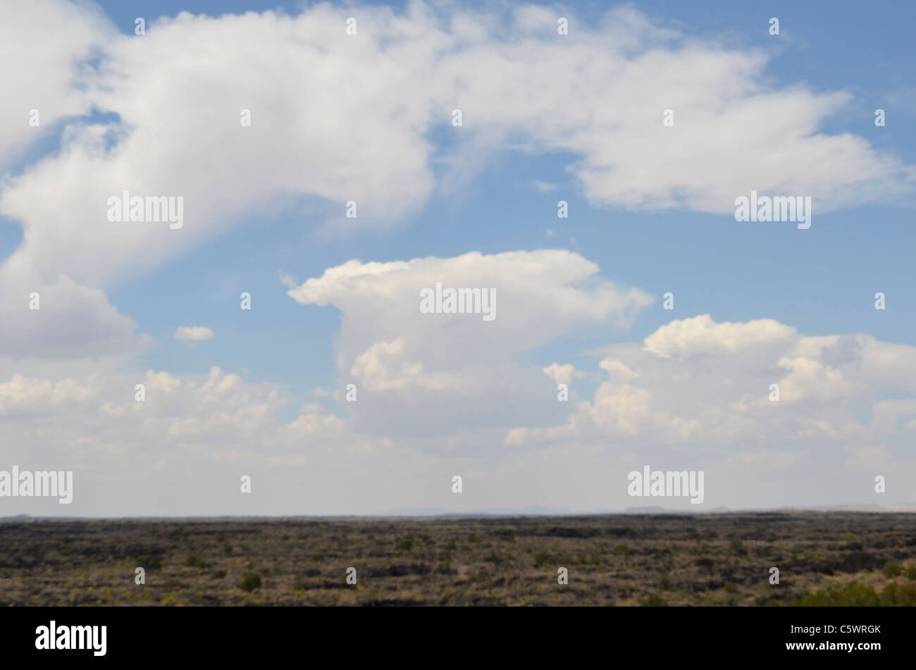 White, fluffy  clouds with a plain ground base - Stock Image