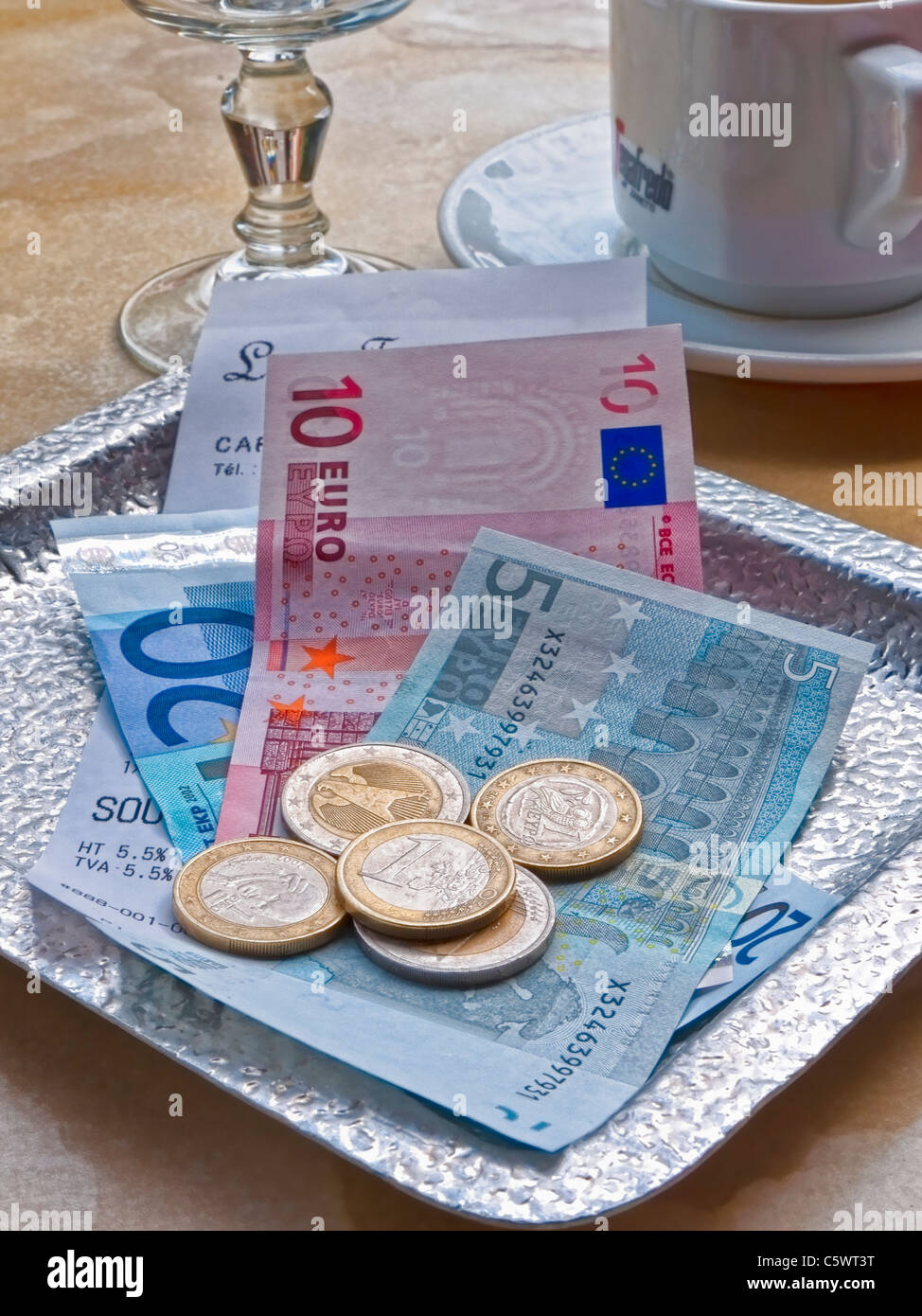 Payment in French euros, Stock Photo