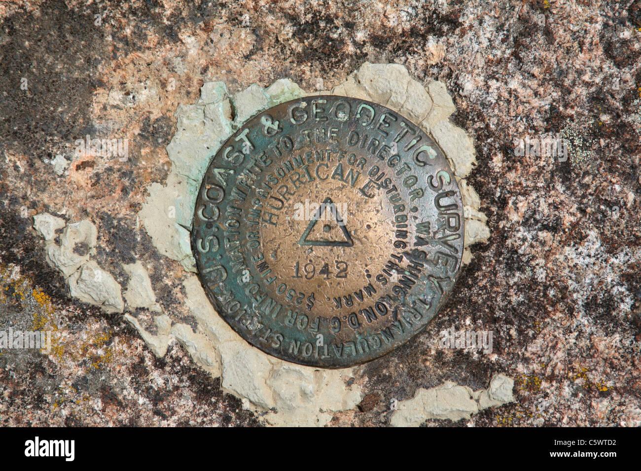 US Coast and Geodetic Survey Triangulation Station Mountaintop Benchmark, Hurricane Mountain in the Adirondacks, - Stock Image