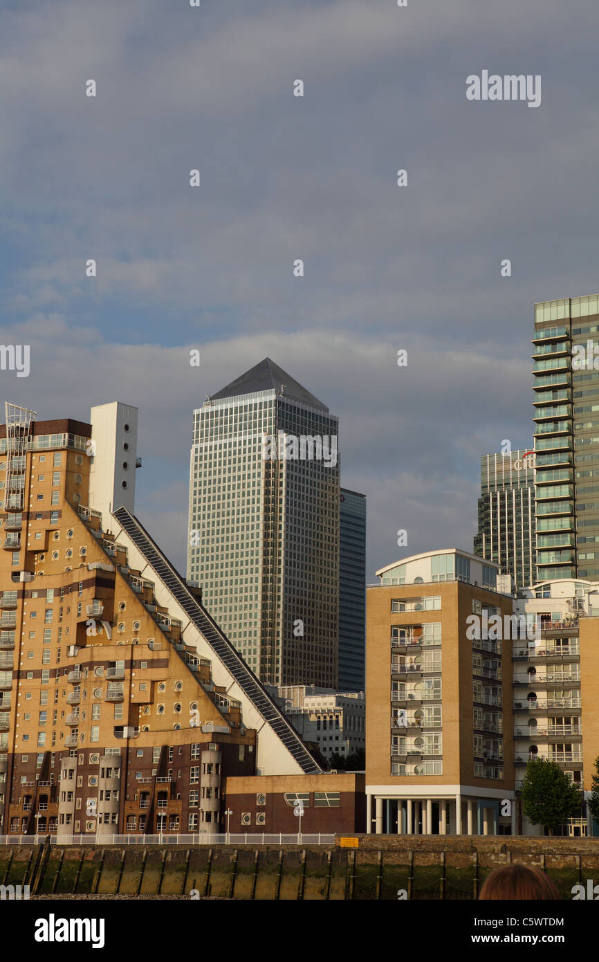 Canary Wharf buildings Isle of Dogs Docklands London UK - Stock Image