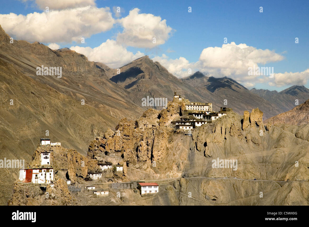 View of Dhankar village (3890m), monastery and fort. Spiti valley, Himachal Pradesh. India, Asia. - Stock Image