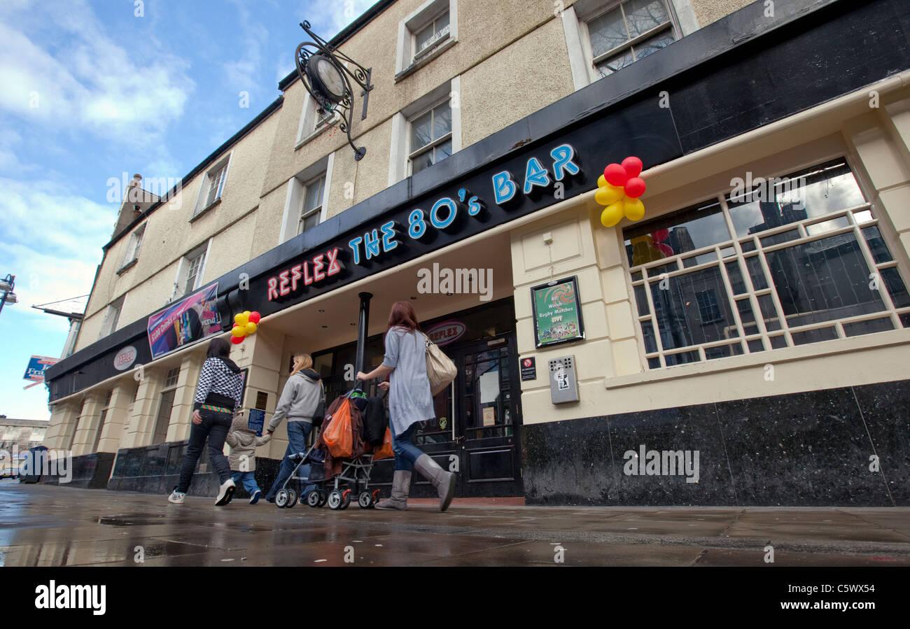 The 80's bar 'Reflex' on Swansea's notorious Wind Street. - Stock Image