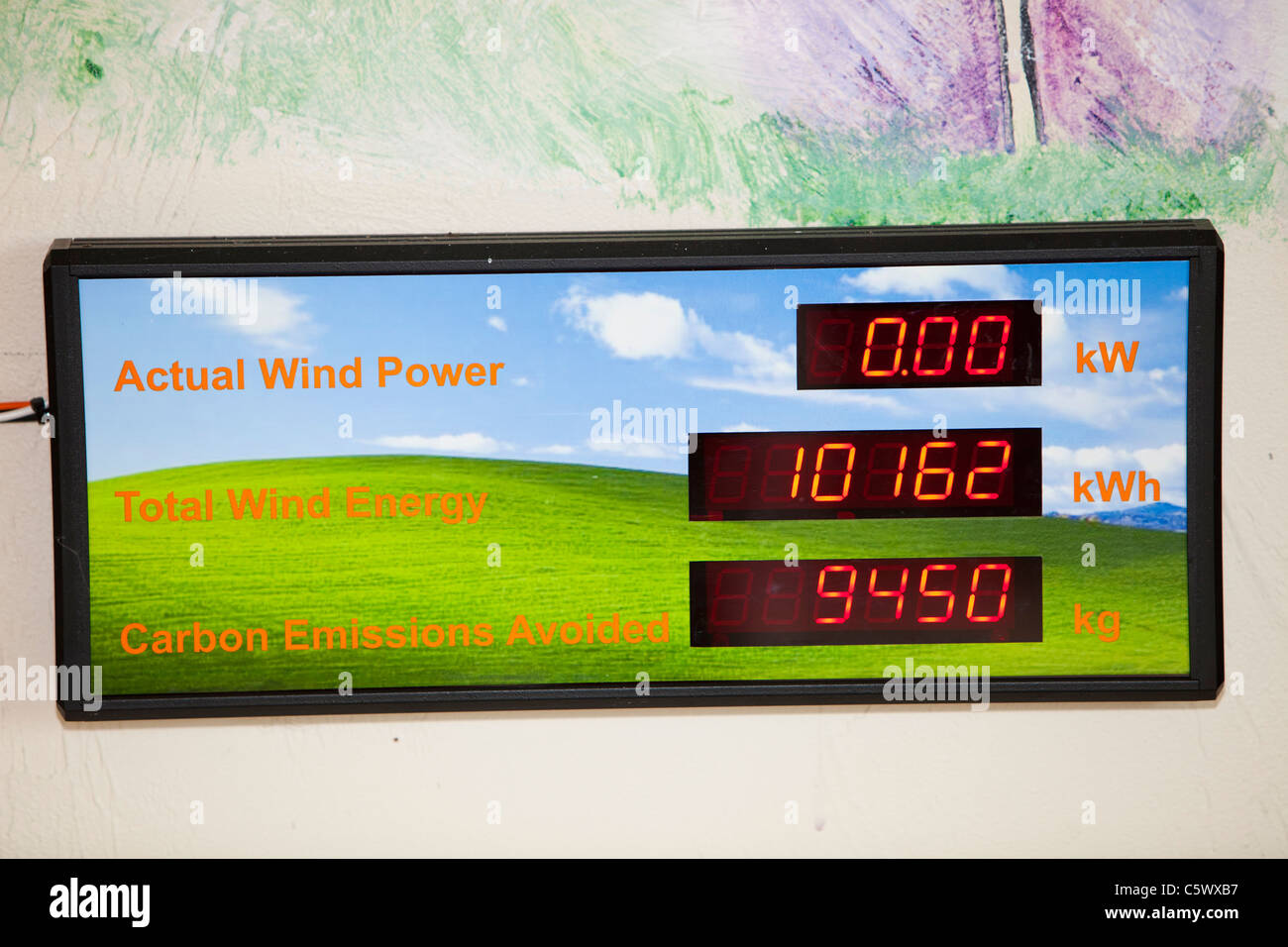 Readouts from renewable energy generation at the off grid, Bowland Wild Boar Park, Lancashire, UK. - Stock Image