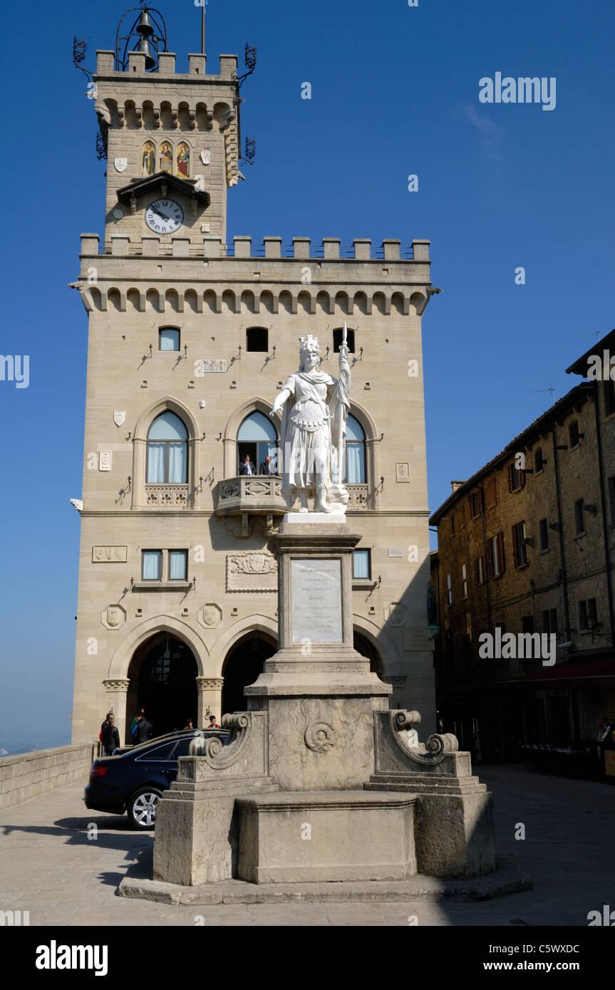 The Palazzo Publico on Piazza della Liberta in San Marino - Stock Image