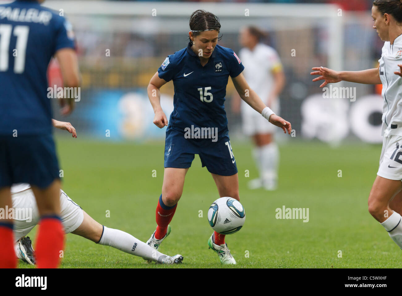 Elise Bussaglia of France (15) in action during a FIFA Women's World Cup semifinal match against the United - Stock Image