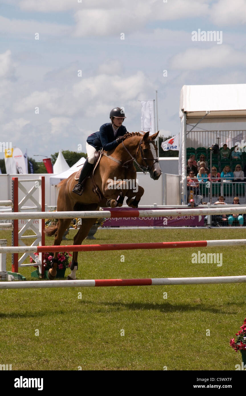 Sammie Jo Coffin on her way to victory at The Royal Cornwall Show 2011 Wadebridge Cornwall England UK - Stock Image