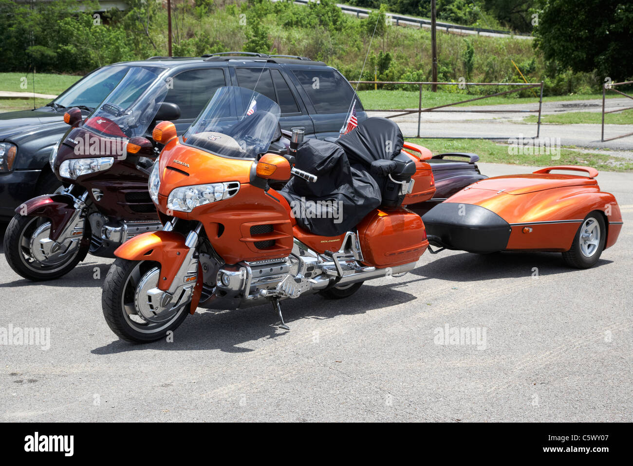 honda goldwing touring motorbikes with trailer Lynchburg , tennessee , usa Stock Photo