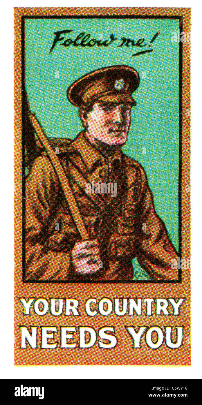 World War One Recruiting Poster - 'Follow me! Your country needs you' - soldier in uniform with rifle. DEL52 - Stock Image