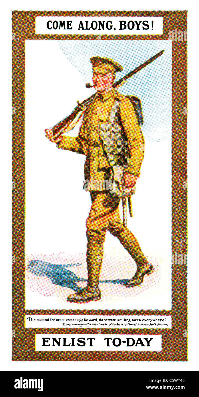 World War One Recruiting Poster - 'Come along, boys! Enlist to-day' - soldier in uniform with rifle and - Stock Image