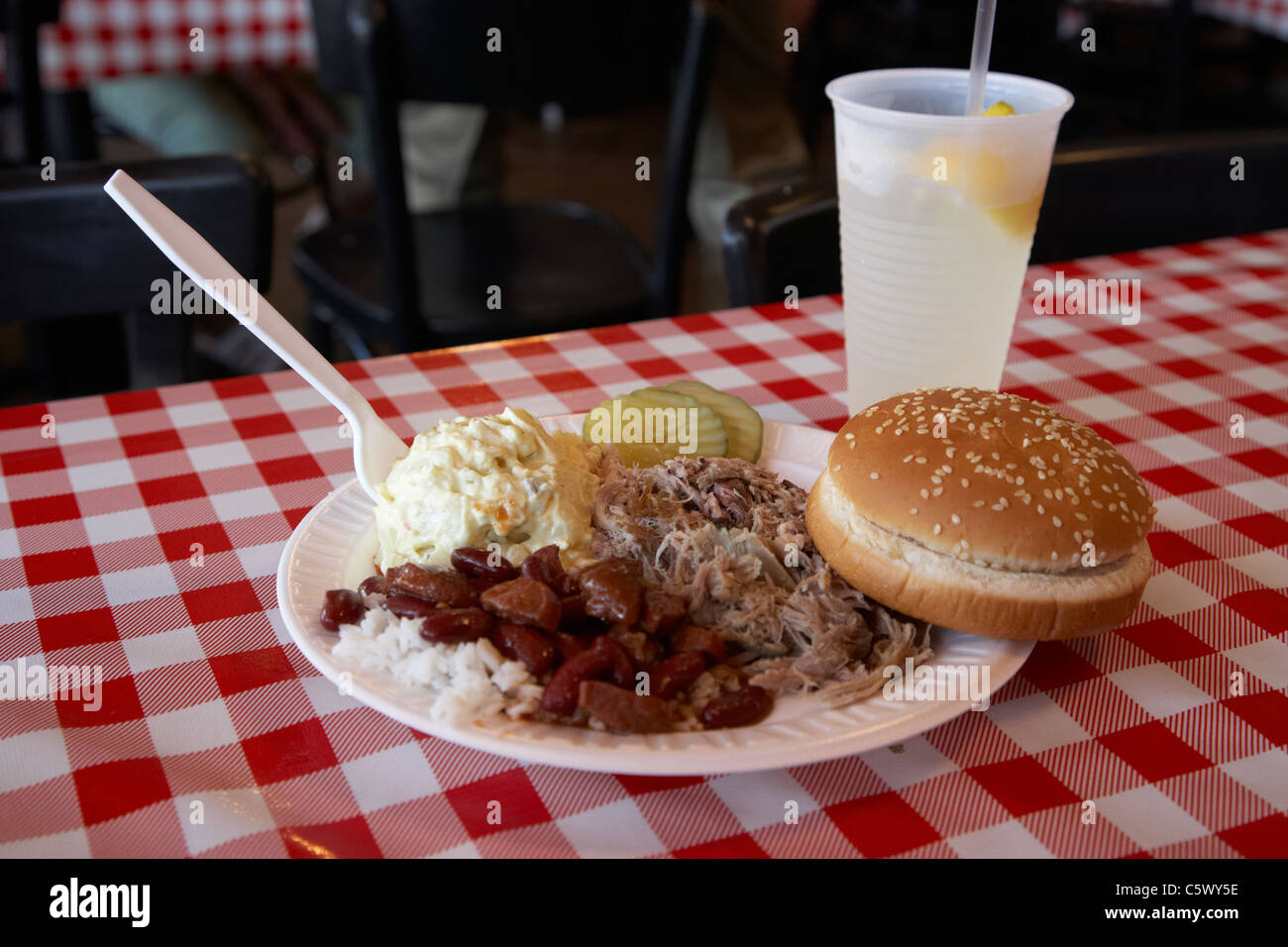pulled pork bbq platter on cafe table Lynchburg , tennessee , usa - Stock Image