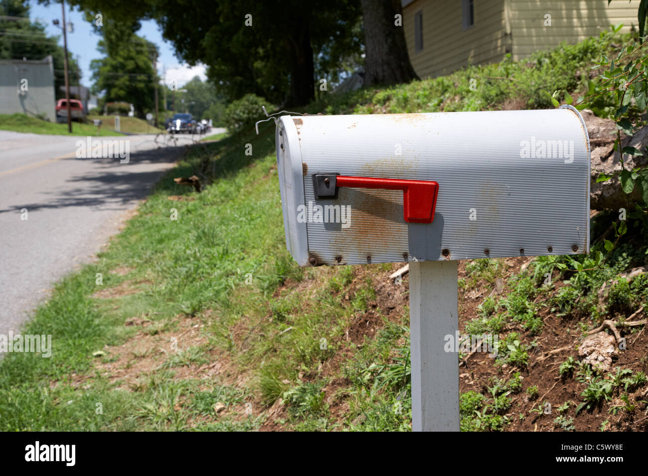 american private mailbox with red flag indicator in Lynchburg , tennessee , usa - Stock Image