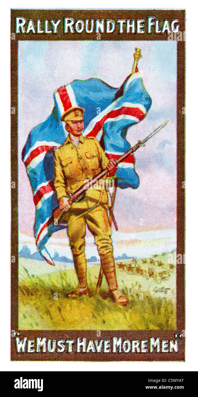 World War One Recruiting Poster - 'Rally round the flag. 'We must have more men'' - soldier with - Stock Image