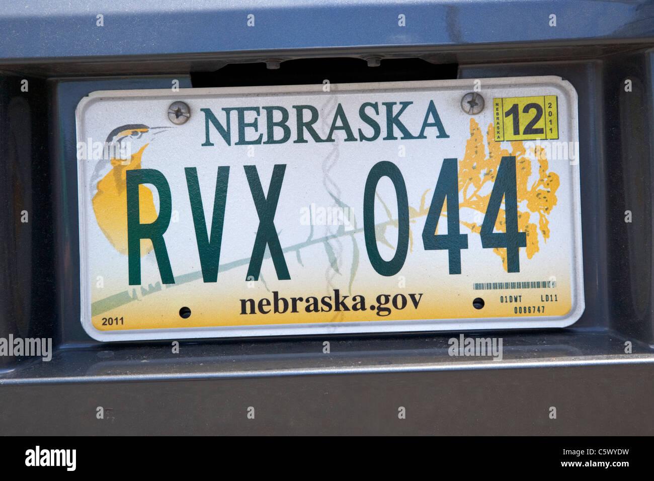 nebraska vehicle license plate state usa Stock Photo: 38064373 - Alamy
