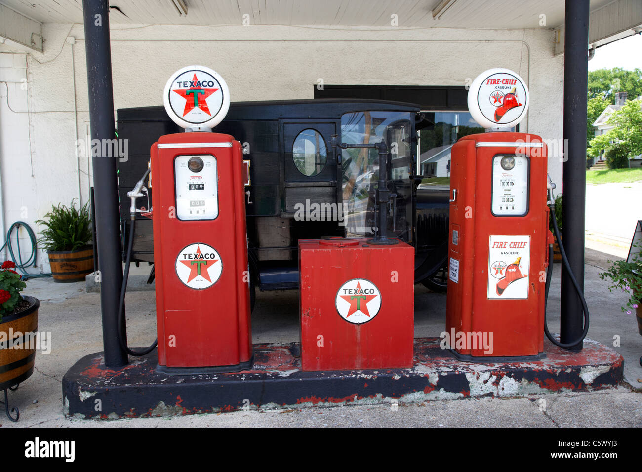 old historic petrol gas pumps at Lynchburg welcome center , tennessee , usa - Stock Image