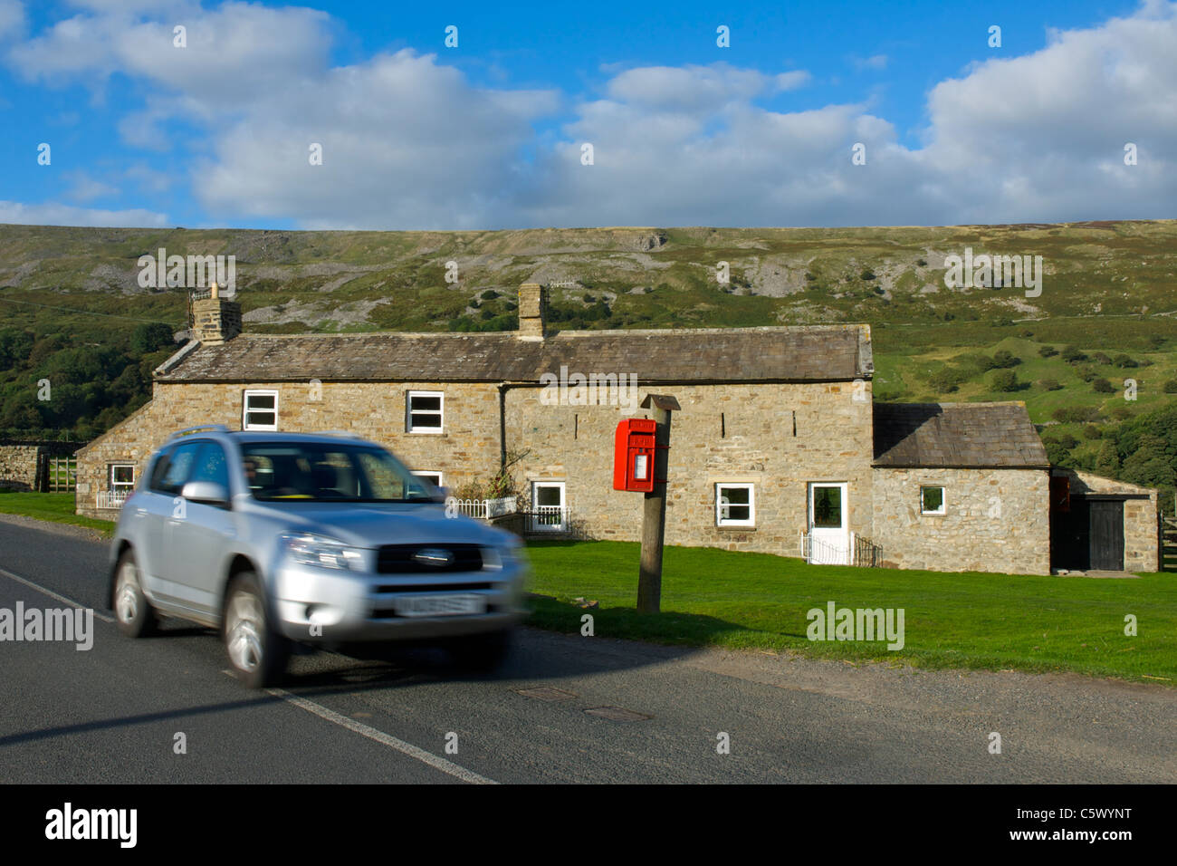 Conversion of farmhouse and barn into two houses, Arkengarthdale, Yorkshire Dales National Park, North Yorkshire, - Stock Image