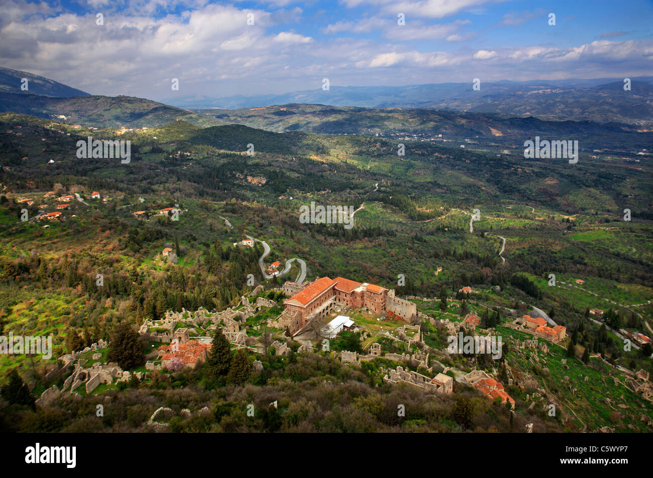 "Panoramic view of the lower ""castletown"" of  Mystras, from the top of its fortress. Close to Sparta town, Lakonia, Stock Photo"