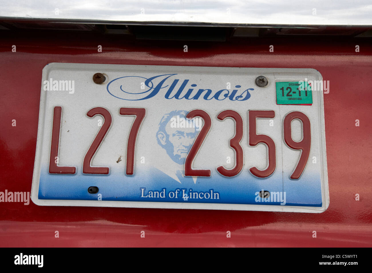 illinois land of lincoln vehicle license plate state usa - Stock Image