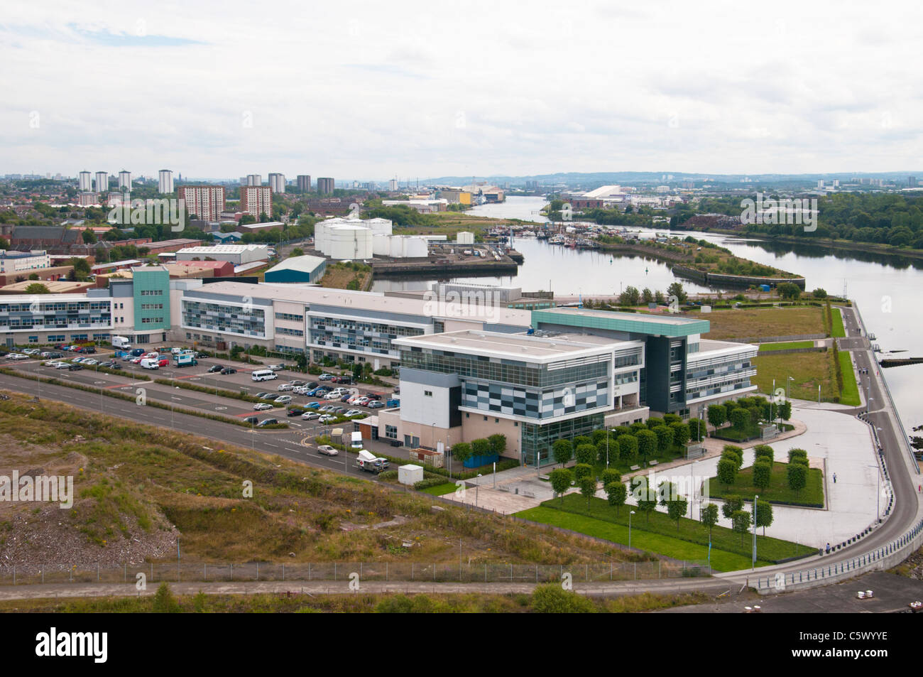 High angle shot of Clydebank College near Glasgow. - Stock Image