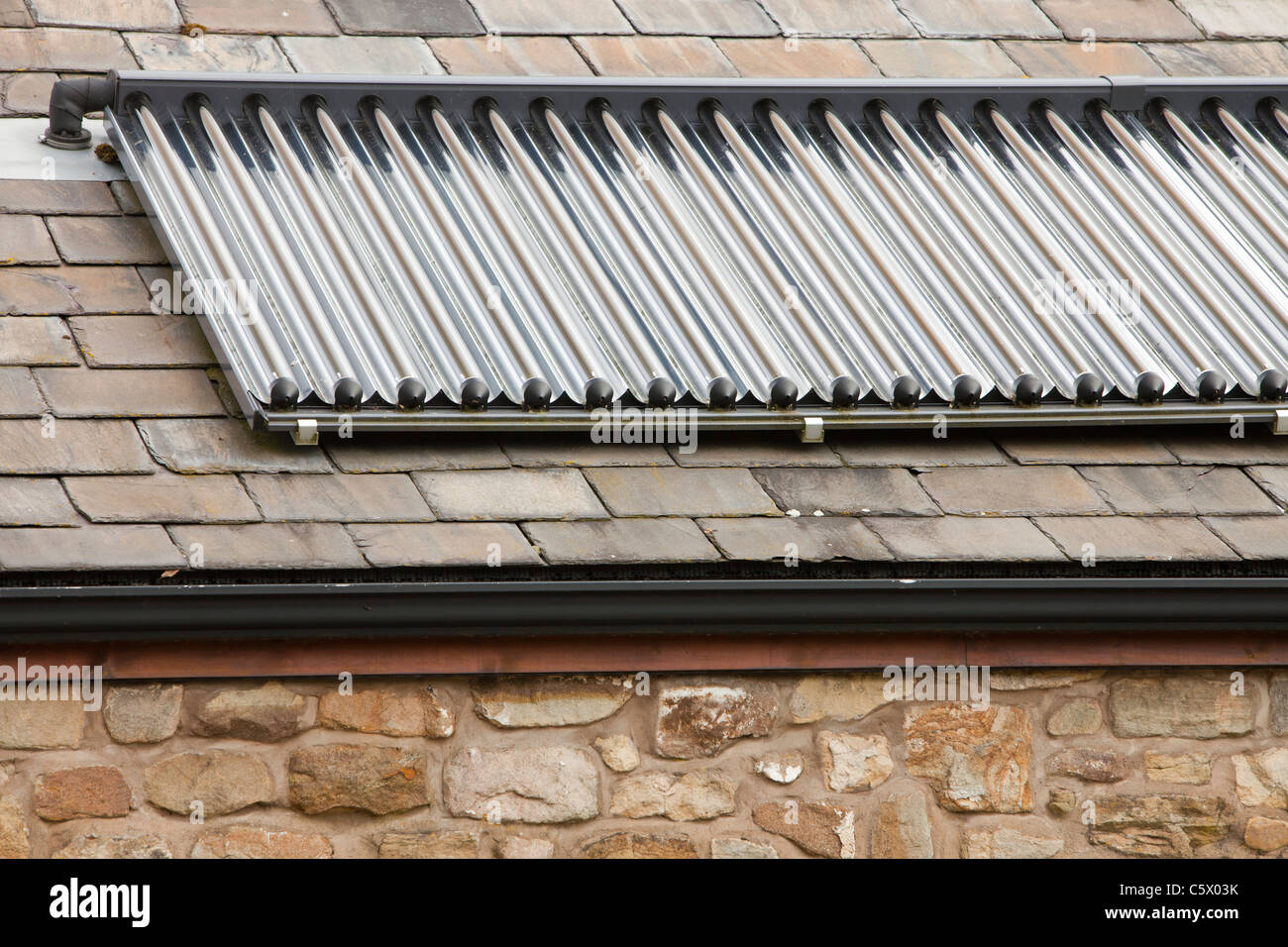 A solar thermal,water heating panel at the off grid, Bowland