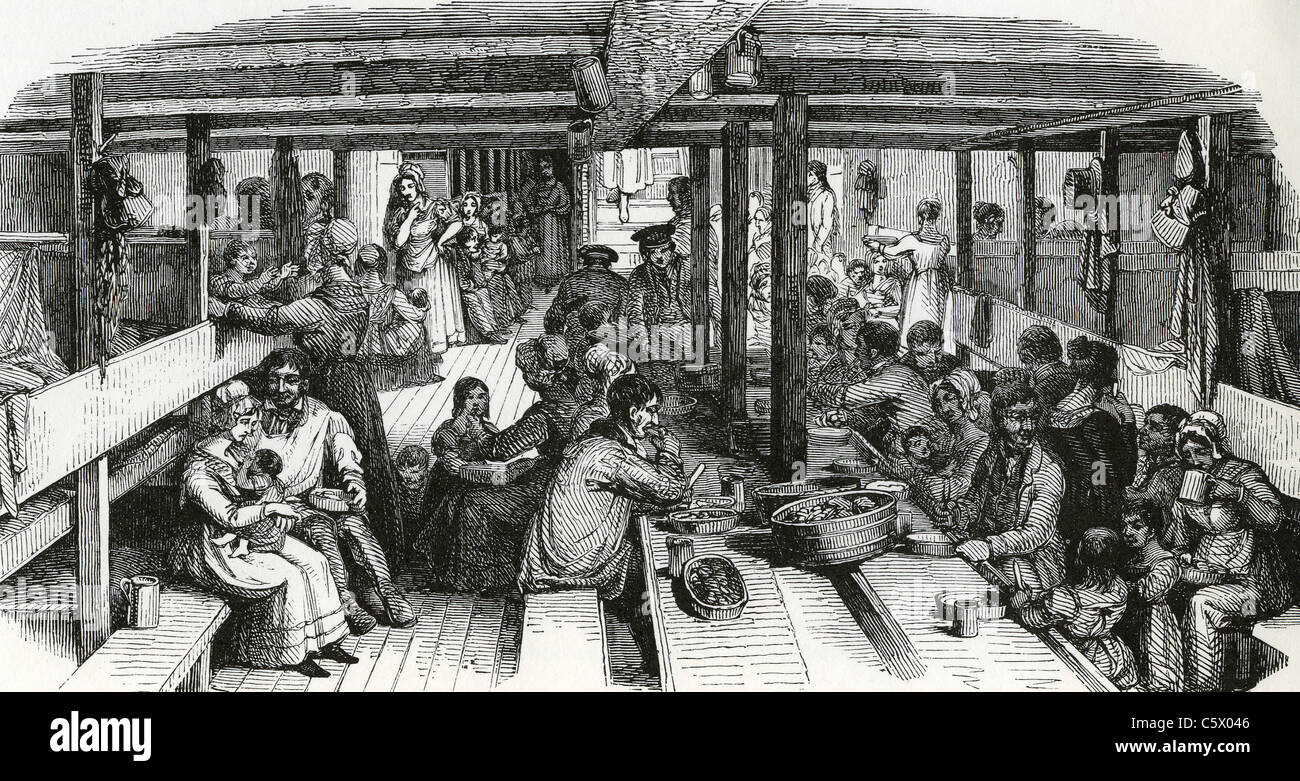 IMMIGRANTS TO AMERICA below decks during the voyage in the mid 1800s - Stock Image