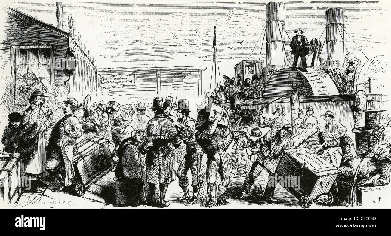 BRITISH IMMIGRANTS arrive in New York by steam paddle boat about 1840