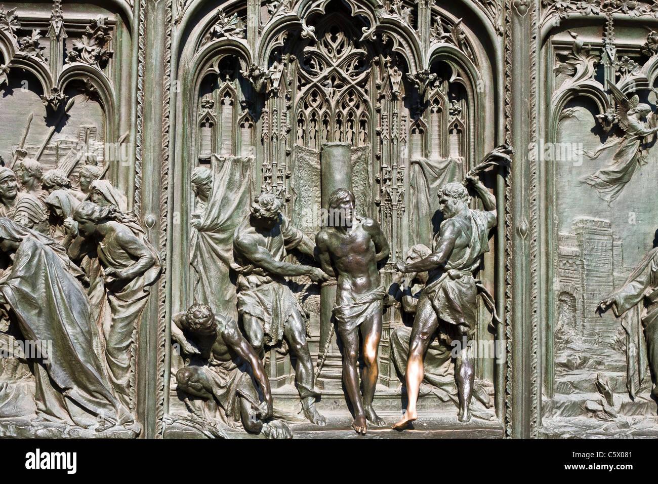 Detail of Milan Cathedral doors - Stock Image