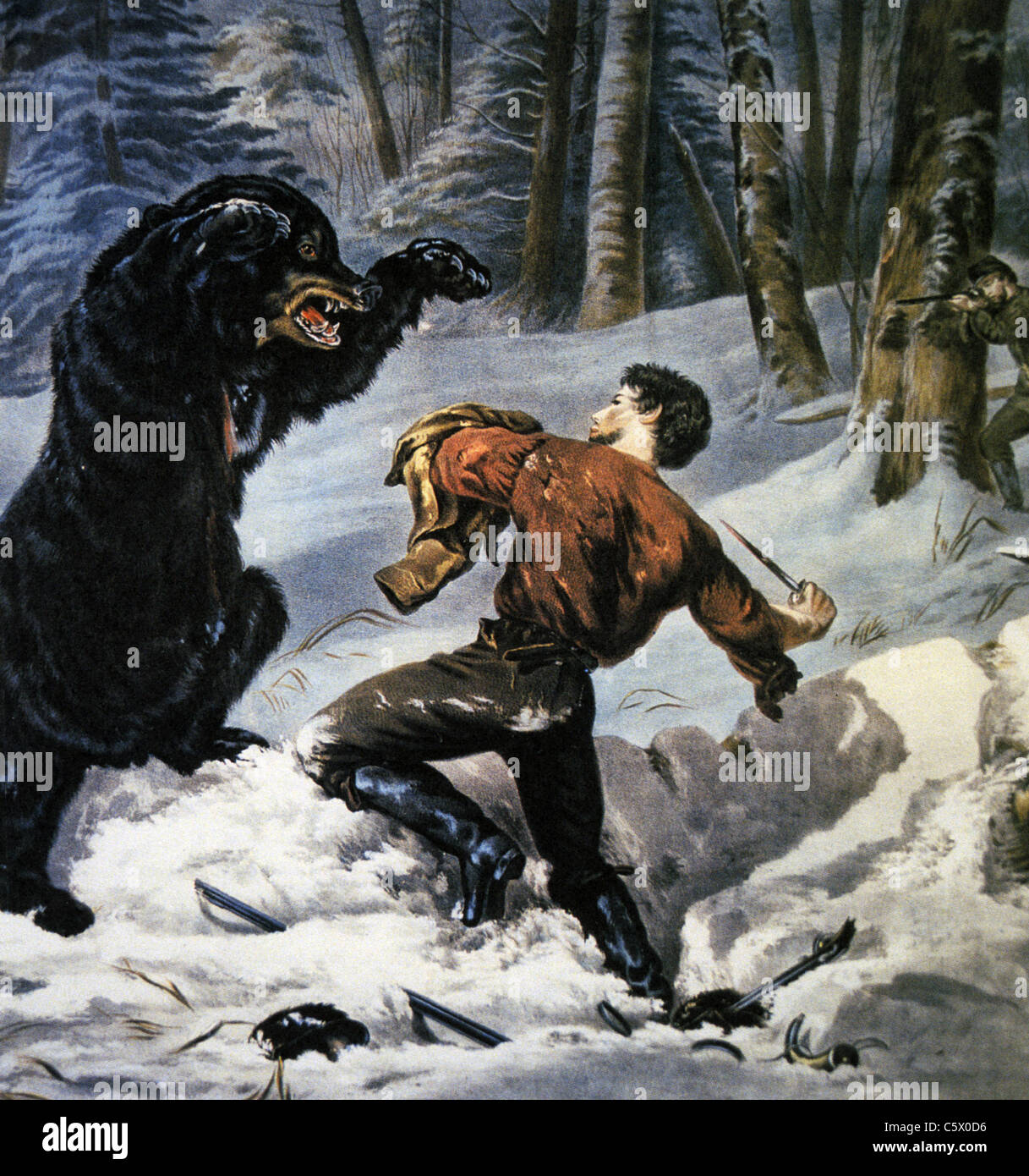 JEDEDIAH SMITH (1799-1831)  US explorer, hunter and writer in his 1824 encounter with a Grizzly Bear - Stock Image