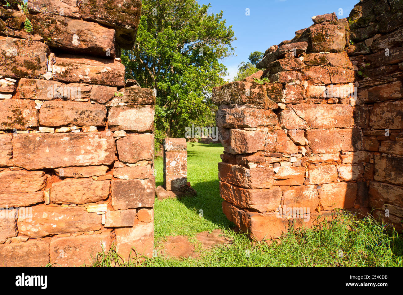 Ruins of the Jesuit reduction San Ignacio Mini, Indigenous dwelling houses, Misiones Province, Argentina - Stock Image